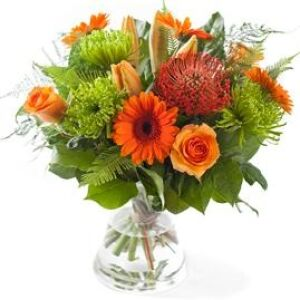 Orange mixed bouquet, excl. vase